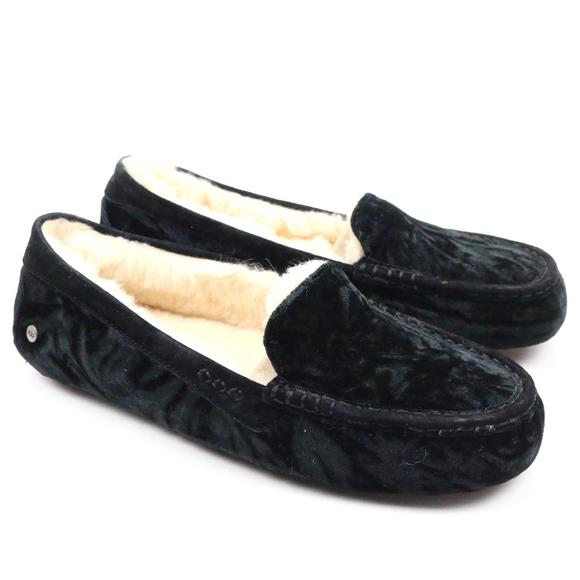 5dbfbbd71c7 UGG Ansley Crushed Velvet Sheepskin Black Slipper Boutique